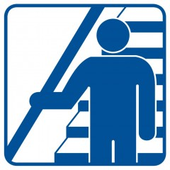 Hold the handrail going down and going up the stairs