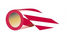 self - adhesive, length 7,5 cm X 58 meters - red - white