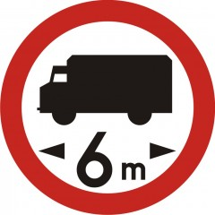 No vehicles of length more than ... m