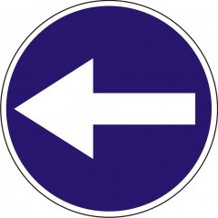 Turn left before the sign
