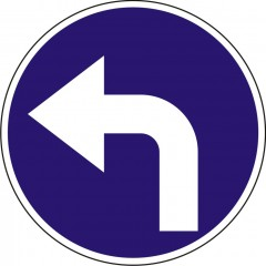 Turn left after the sign
