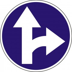Proceed straight or turn right