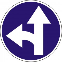 Proceed straight or turn left