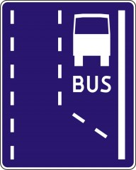 Beginning of a bus lane