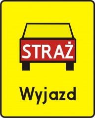Plate indicating a spot of fire engines' turnoffs