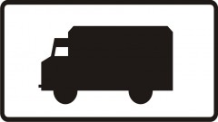 Plate indicating trucks, special vehicles, vehicles intended for special purposes, of total allowed weight not over 3,5 t and a tractor unit