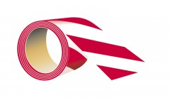 self-adhesive, reflective tape, red - white, length 5 meters, width 5 cm
