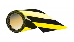 self - adhesive, length 7,5 cm X 58 meters - black - yellow