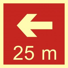 Direction to the place of firefighting equipment or warning device storage - 25 m left