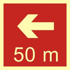 Direction to the place of firefighting equipment or warning device storage - 50 m left