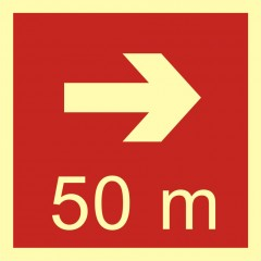 Direction to the place of firefighting equipment or warning device storage - 50 m right