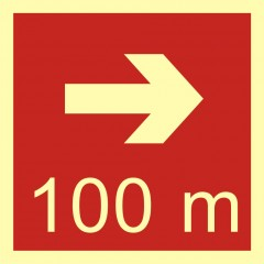 Direction to the place of firefighting equipment or warning device storage - 100 m right