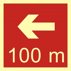 Direction to the place of firefighting equipment or warning device storage - 100 m left