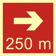 Direction to the place of firefighting equipment or warning device storage - 250 m right