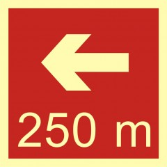 Direction to the place of firefighting equipment or warning device storage - 250 m left