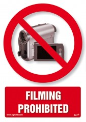 Filming prohibited