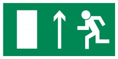 Direction to leave an escape route up - pictogram on the lamp