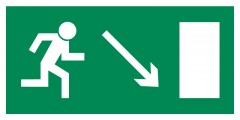 Direction to leave an escape route down to the right - pictogram on the lamp