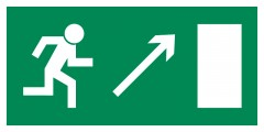 Direction to leave an escape route up to the right - pictogram on the lamp