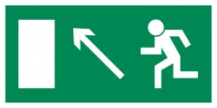 Direction to leave an escape route up to the left - pictogram on the lamp