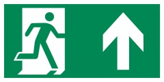 Direction to emergency exit up - pictogram on the lamp