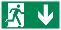 Direction to emergency exit down - pictogram on the lamp