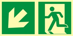 Direction to emergency exit – down to the left