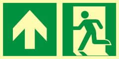 Direction to emergency exit – up (left sided)