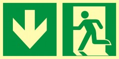 Direction to emergency exit – down (left sided)