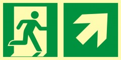 Direction to emergency exit – up to the right