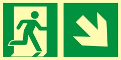 Direction to emergency exit - down to the right