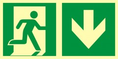 Direction to emergency exit – down (right sided)