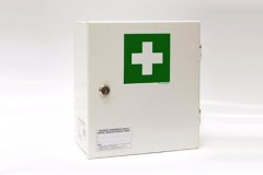 Wall mounted first aid kit of steel 20 equipment DIN 13164