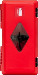 Fire extinguisher cabinet for 4 kg and 6 kg fire extinguishers, red with window