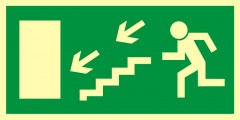 Direction to leave an escape route down the stairs to the left
