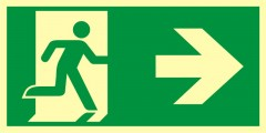 Direction to emergency exit – right