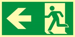 Direction to emergency exit – left
