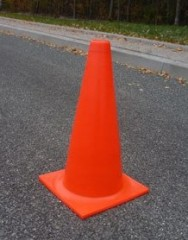 Fluorescent non-reflective traffic cone 50cm plain