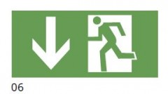 The direction of the evacuation route down - pictogram for the IF2 lamps