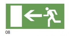 The direction of the evacuation route to the left - pictogram for the IF2 lamps