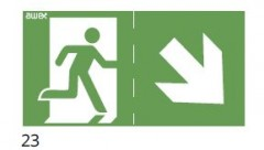 The direction of the evacuation route downstairs to the right - pictogram for the IF2 lamps