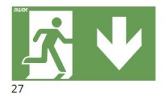 Evacuation route direction – downstairs (right-sided) – pictogram for the IF2 lamps