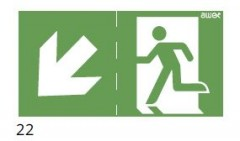 The direction of the evacuation route downstairs to the left - pictogram for the ETE & ARN lamps