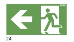 The direction of the evacuation route to the left - pictogram for the ETE & ARN lamps