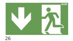 Evacuation route direction – downstairs (left-sided) – pictogram for the ETE & ARN lamps