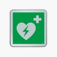 Automated external heart defibrillator- road sign