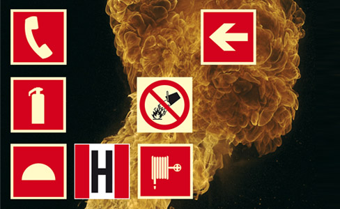 Photoluminescent fire protection signs